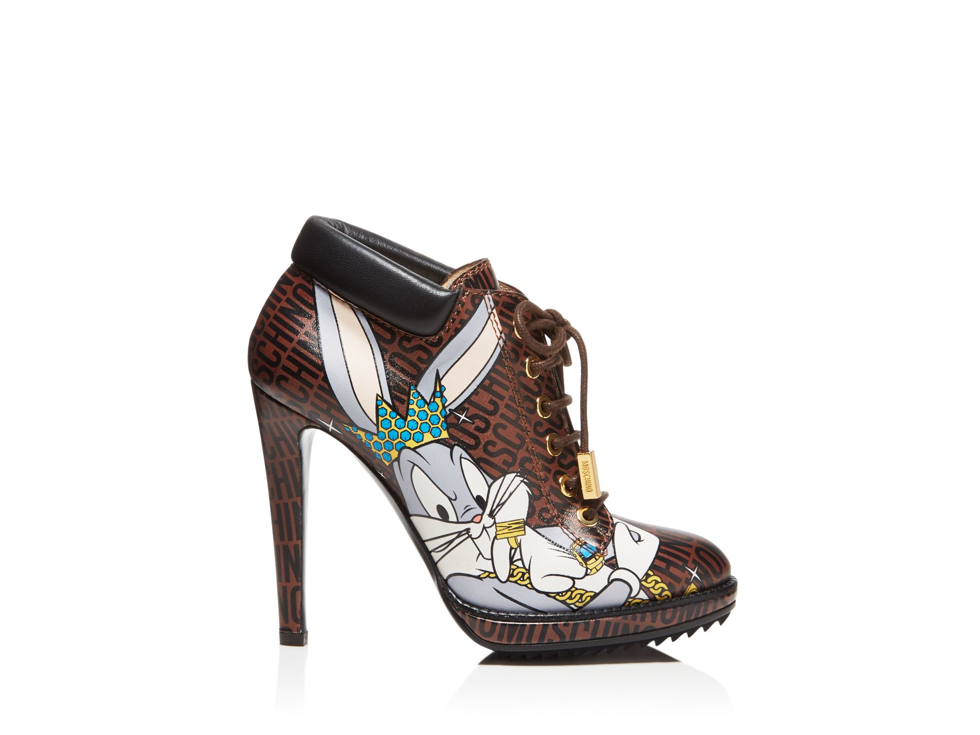 1cb48fcb672 Lyst - Moschino Looney Lace Up High Heel Booties