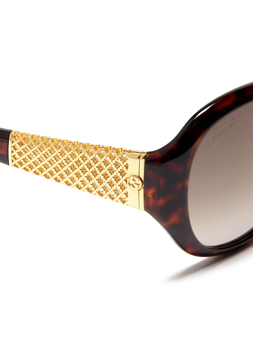 3209b652dd Gucci Oversized Gold Temple Wayfarer Sunglasses
