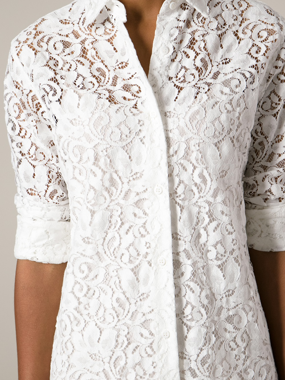 Lyst - Ermanno Scervino Lace Shirt in White