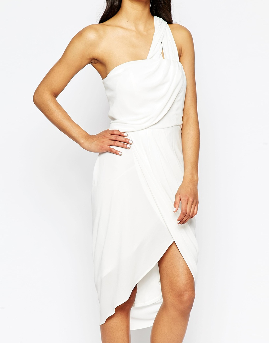 b729a569951 Lyst - ASOS Asymmetric One Shoulder Drape Midi Dress in White