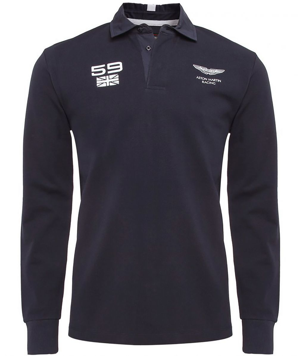 db0365d6925 Hackett Aston Martin Racing Long Sleeved Rugby Top in Blue for Men ...