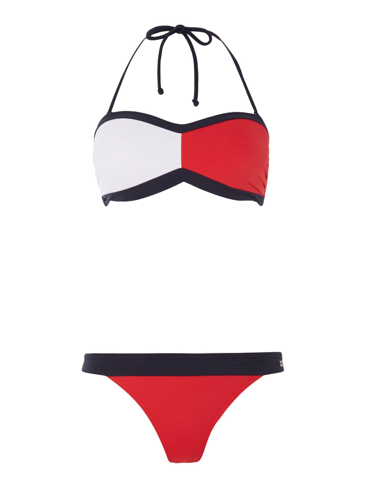 tommy hilfiger flag bandeau bikini set in red lyst. Black Bedroom Furniture Sets. Home Design Ideas