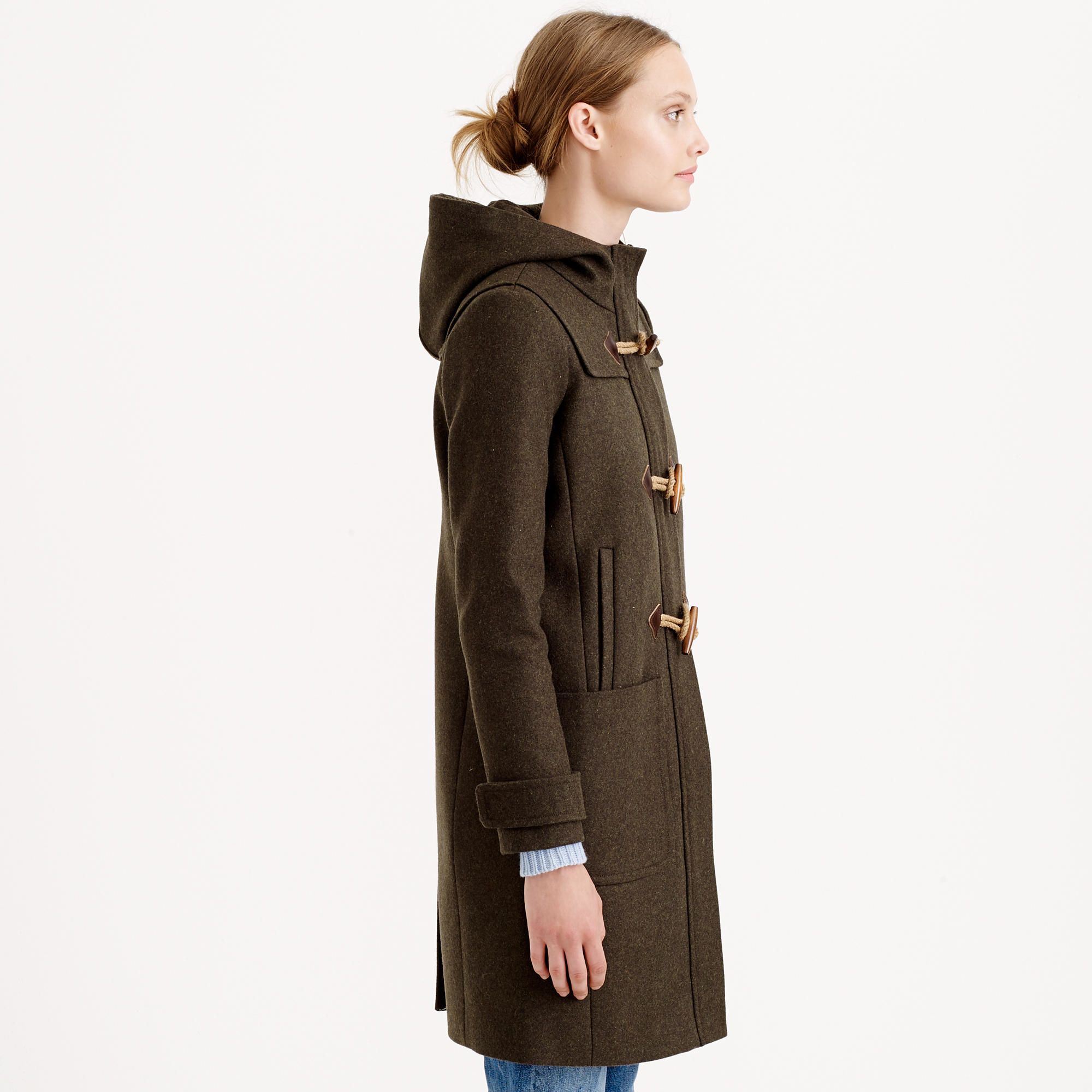 Lyst j crew wool melton toggle coat in brown for Jcrew com