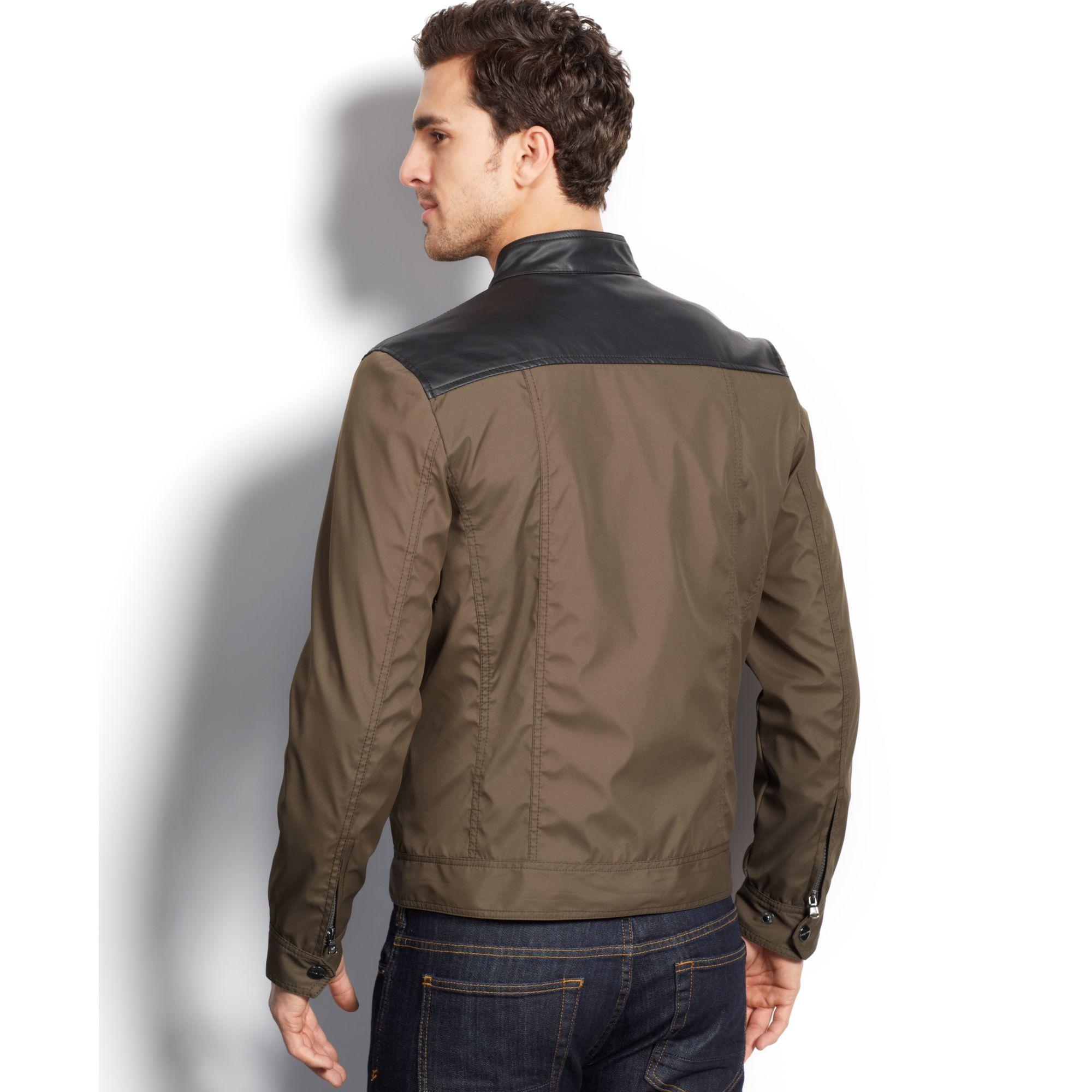 Lyst Michael Kors Michael Arabi Faux Leather Nylon Moto