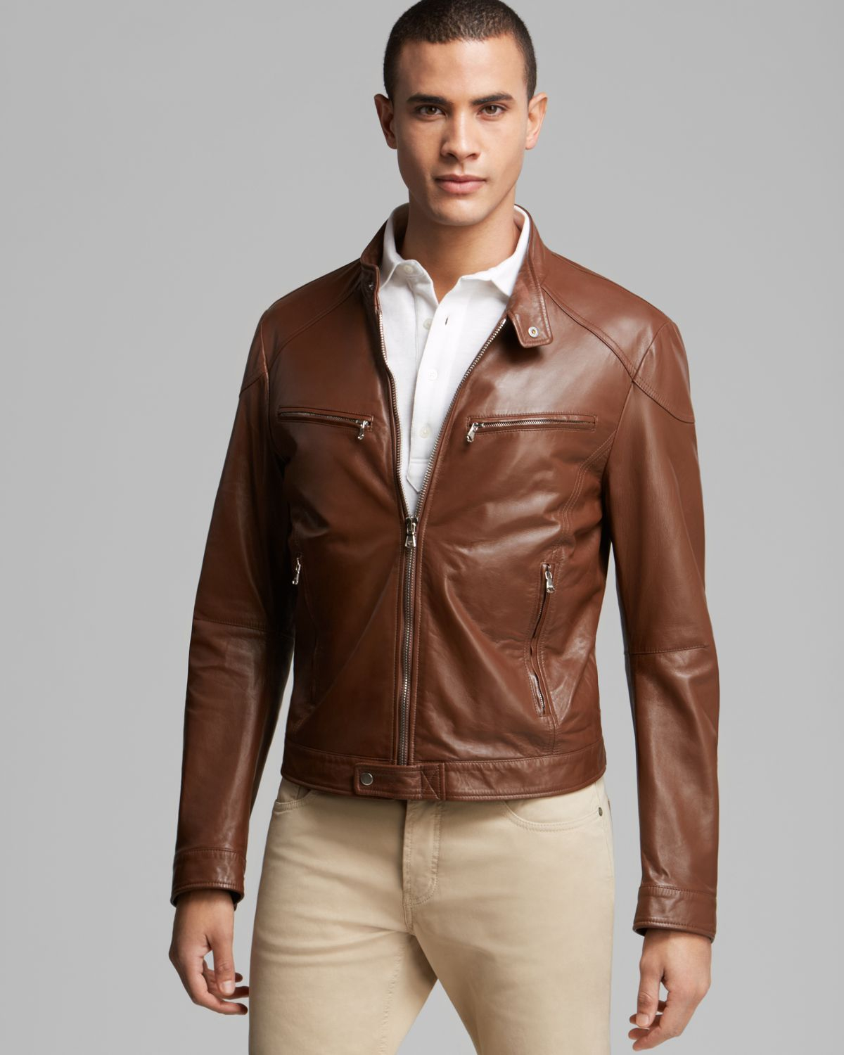 Kent & curwen Leather Bomber Jacket in Brown for Men | Lyst
