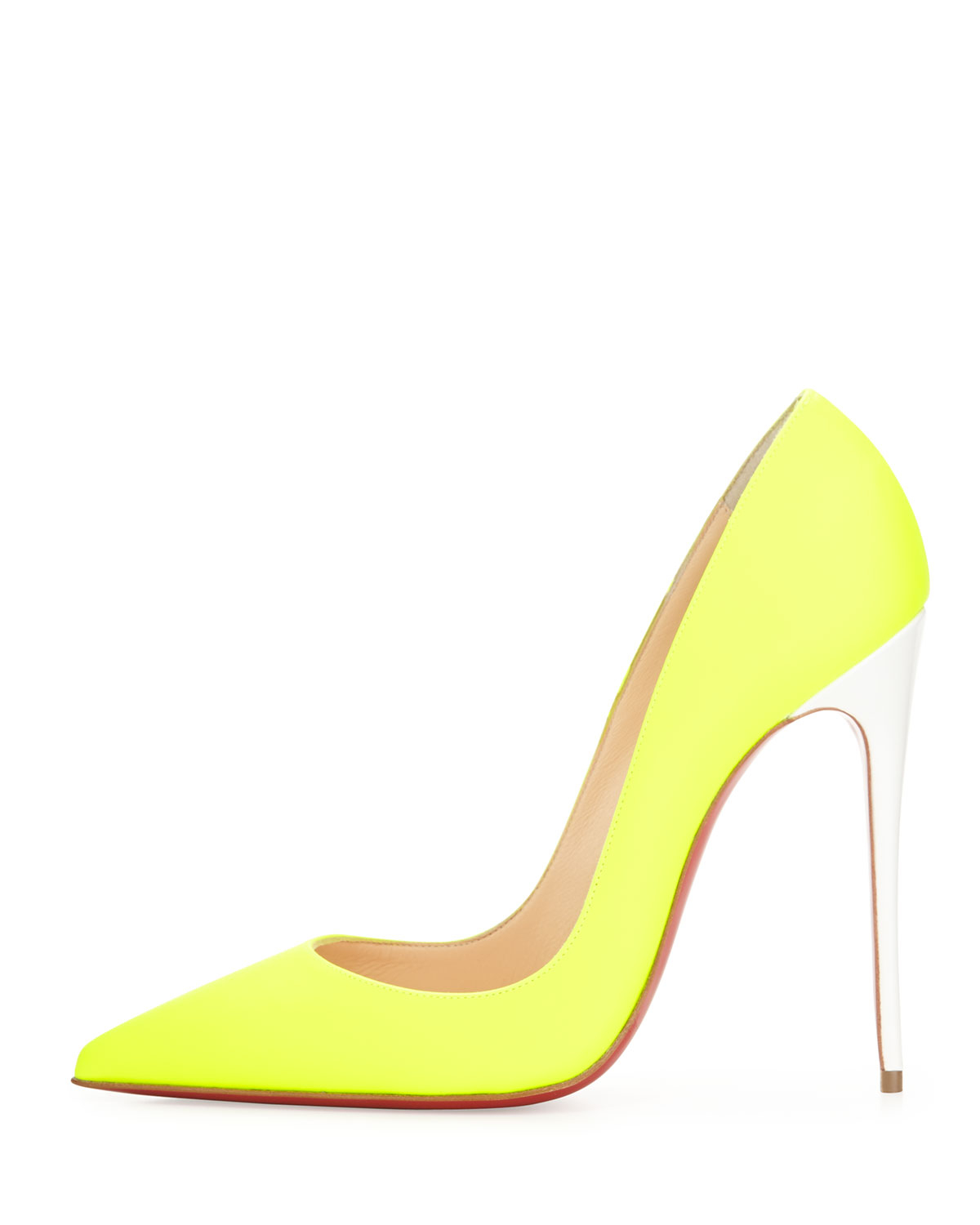 63824d015872 Christian louboutin So Kate Fluorescent Leather Heels in Yellow | Lyst
