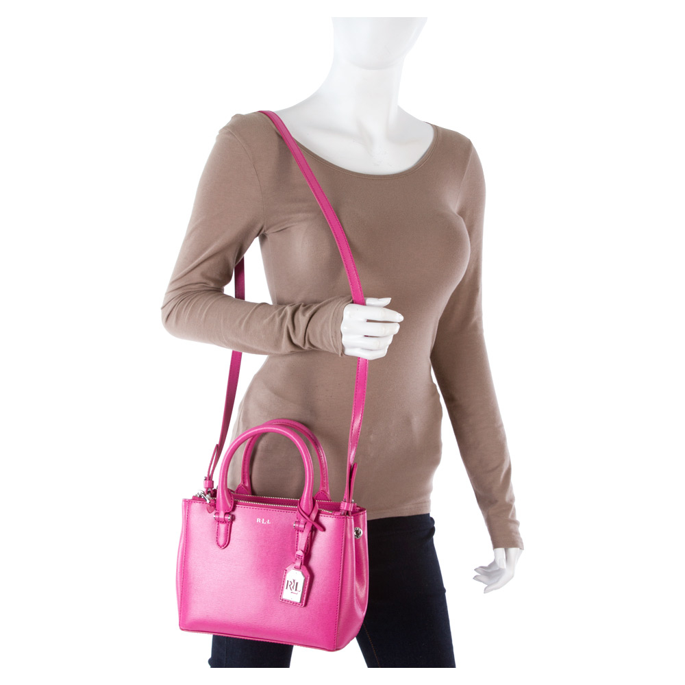 5a90a6815bc9 Lyst - Lauren by Ralph Lauren Newbury Mini Double Zip Satchel in Pink