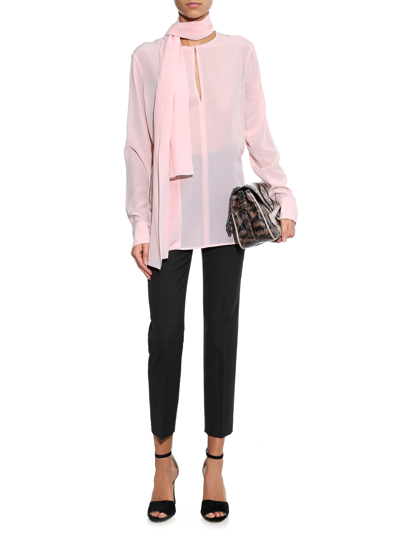 Lyst Bottega Veneta Silk Crepe De Chine Blouse In Pink