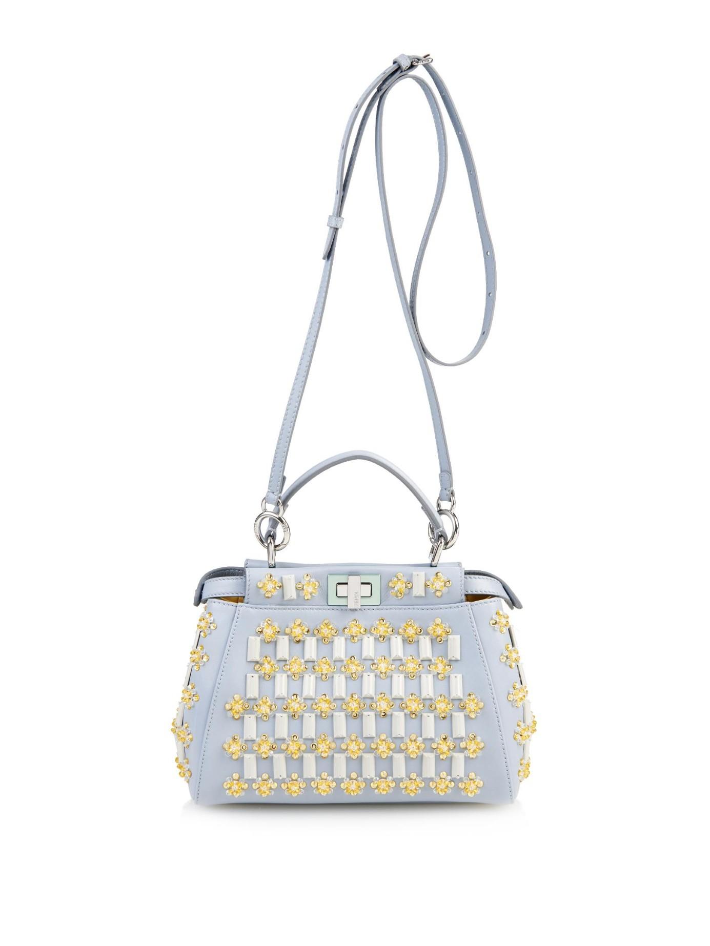 Lyst - Fendi Mini Peekaboo Floral-Embellishments Cross-Body Bag in Blue beb59ffb72711