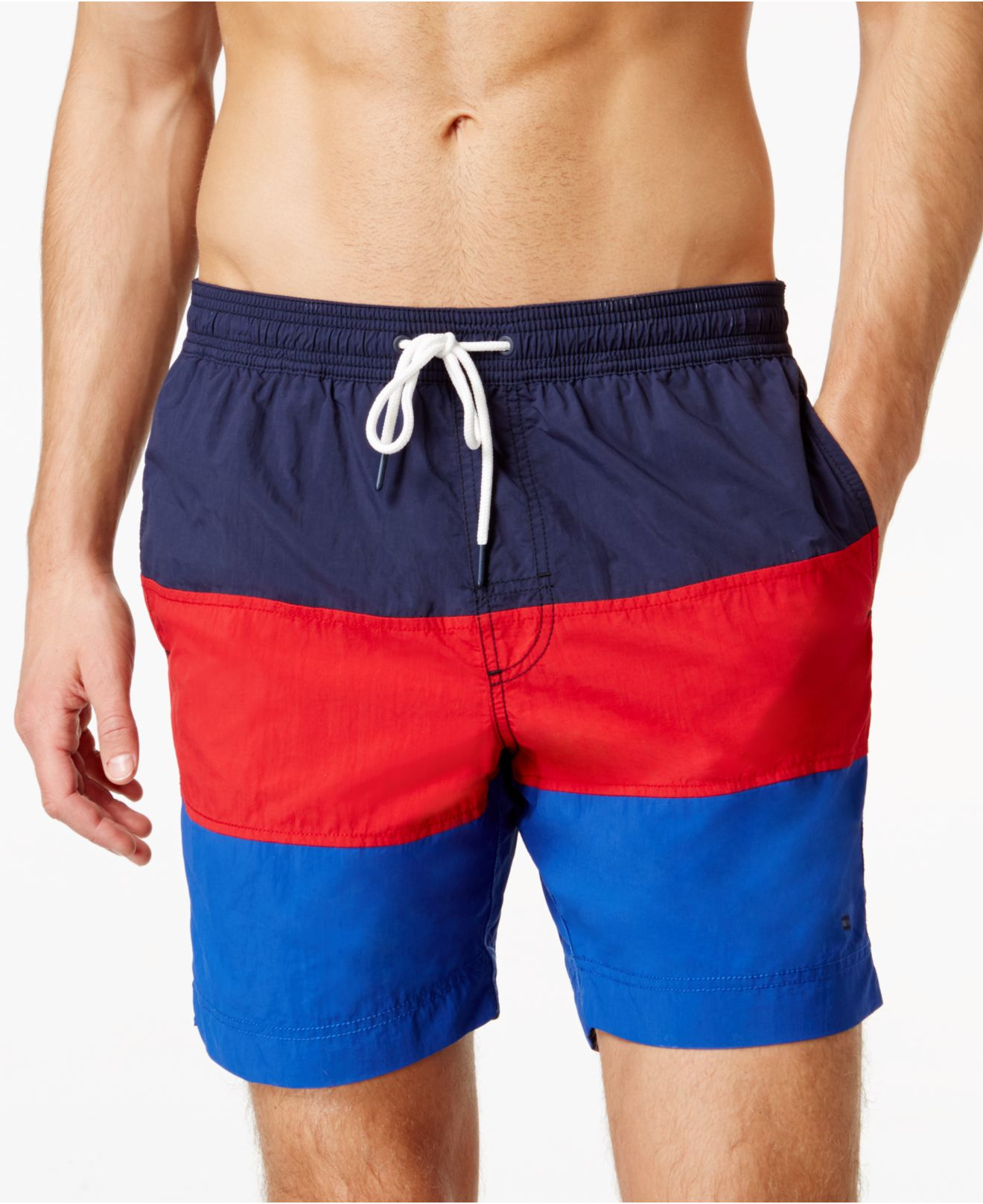 8bfa508a2bf3c Tommy Hilfiger Waterford Colorblocked Drawstring Swim Trunks in Blue ...