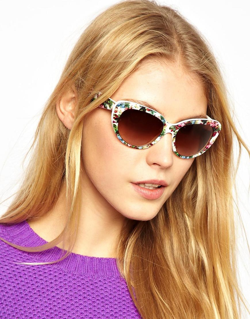 bf490aeb328 Lyst - Dolce   Gabbana Dolce and Gabbana Cateye Floral Print Sunglasses