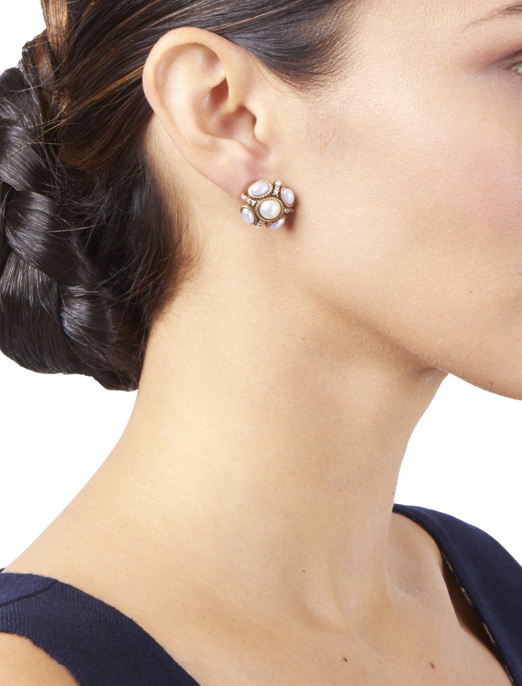 Oscar De La Renta Classic Crystal Button Earrings tBWSy