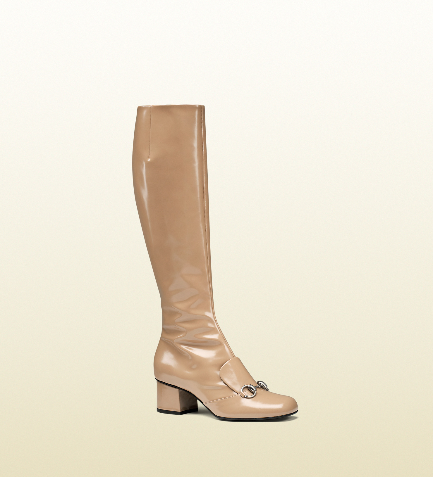 Gucci Leather Horsebit Knee Boot In Beige Natural Lyst