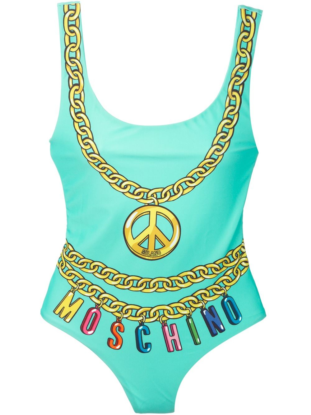 4a4bc0d32d Lyst - Moschino Logo Chain Print Swimsuit in Blue