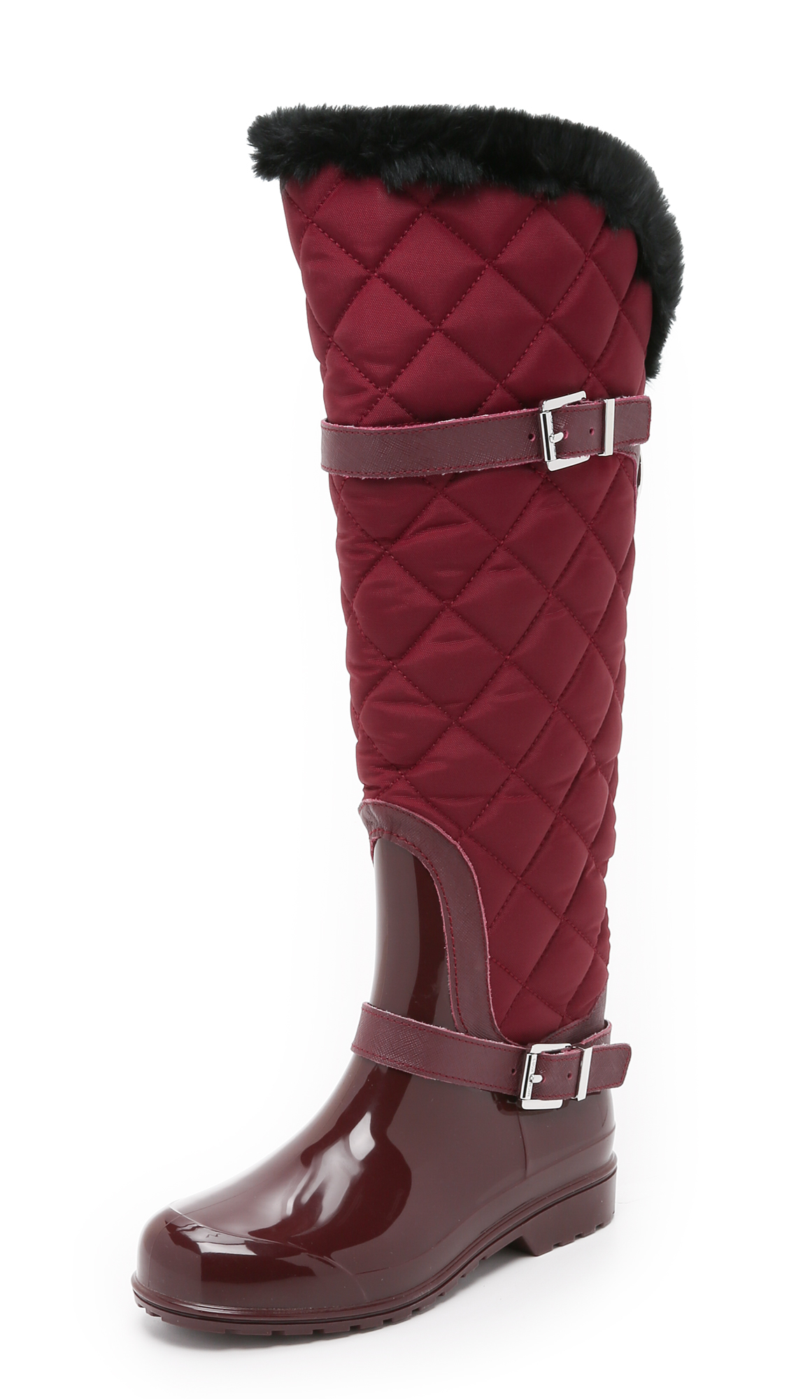 michael michael kors fulton quilted rain boots in red lyst. Black Bedroom Furniture Sets. Home Design Ideas