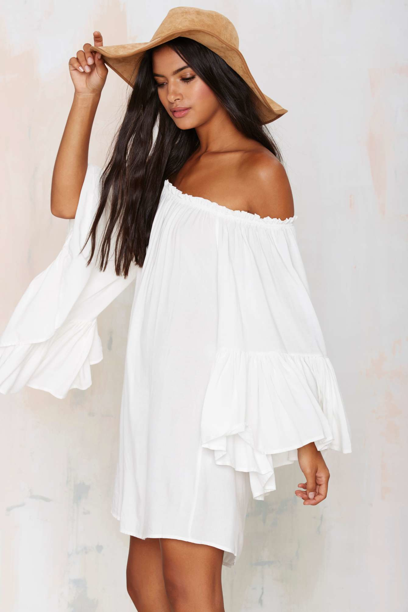 Lyst - Nasty Gal On The Move Off-the-shoulder Dress in White 4cf300412