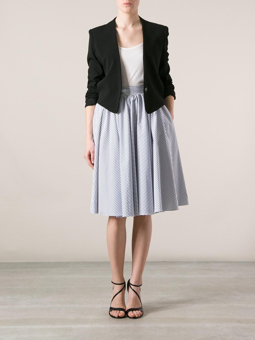 Jean paul gaultier Striped High Waisted Skirt in Blue | Lyst