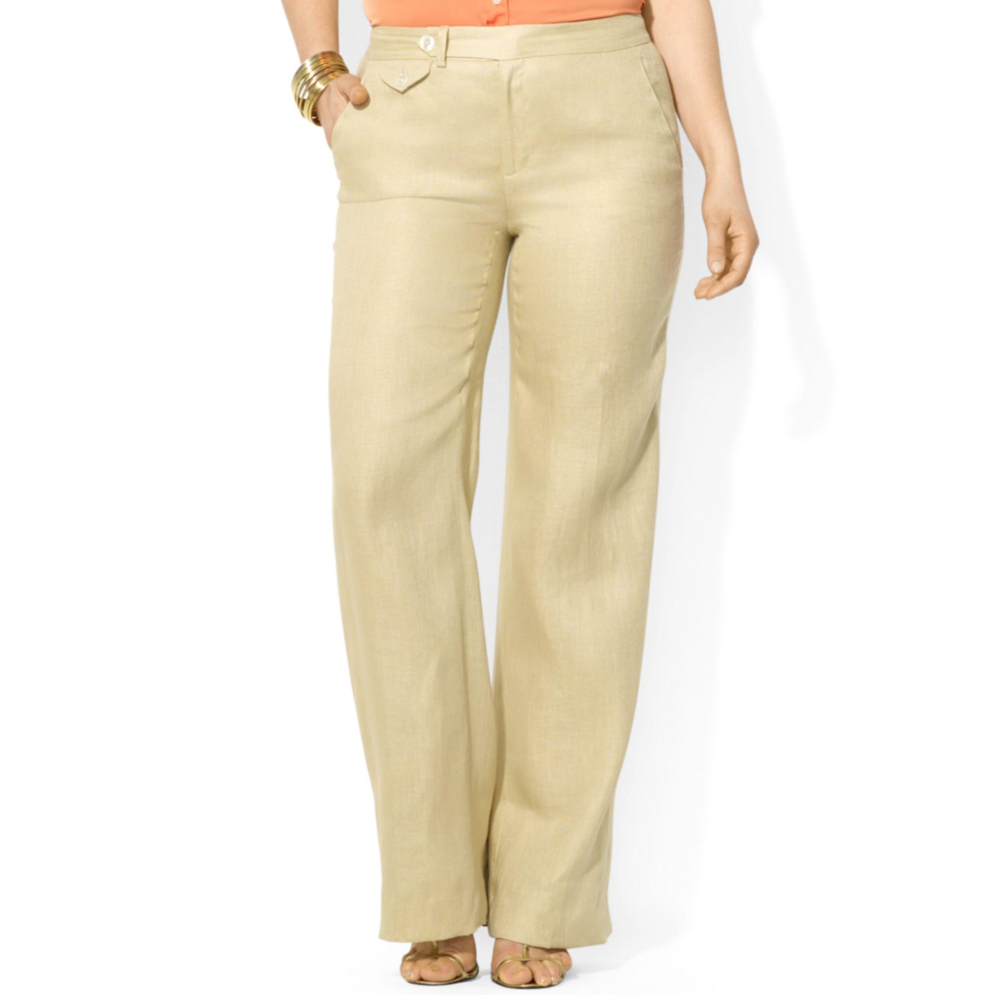 6d118f66cb4aa Lyst - Lauren by Ralph Lauren Plus Size Wideleg Linen Pants in Natural