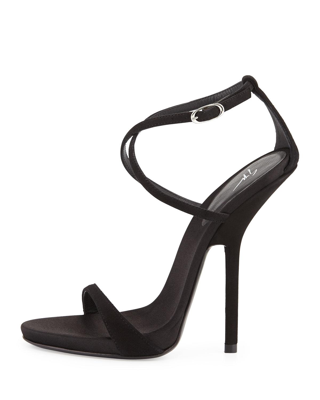 9f7b67ff63a Lyst - Giuseppe Zanotti Strappy Crisscross High Heel Sandal in Black