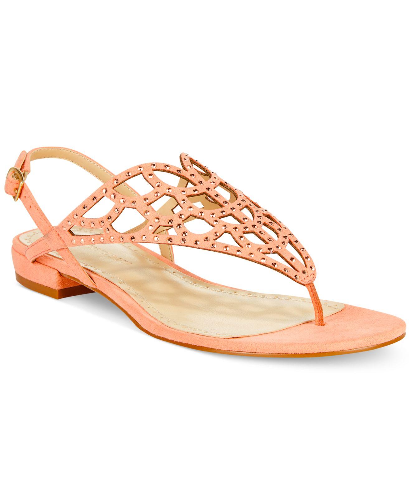 c003078fbac5 Lyst - Adrienne Vittadini Molli Crystal Thong Sandals in Orange