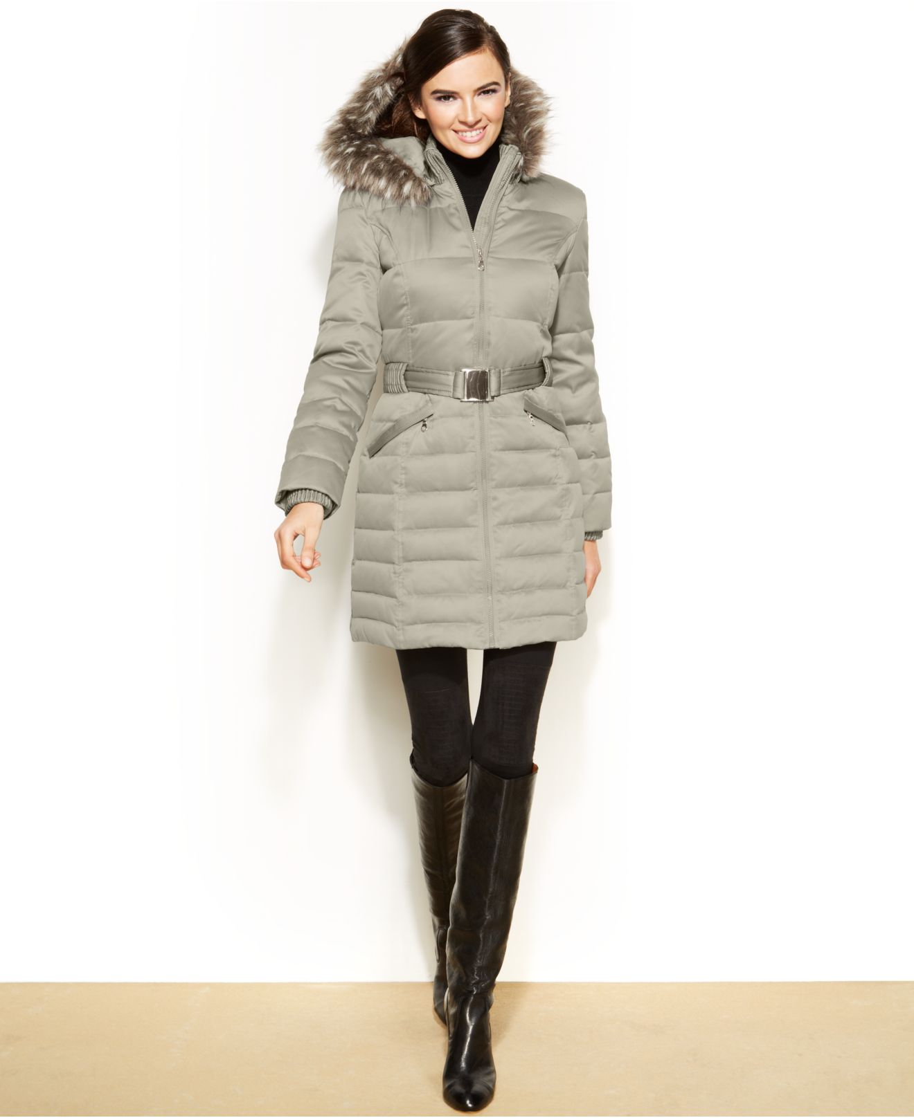 Dkny Petite Hooded Faux-Fur-Trim Belted Down Puffer Coat in ...