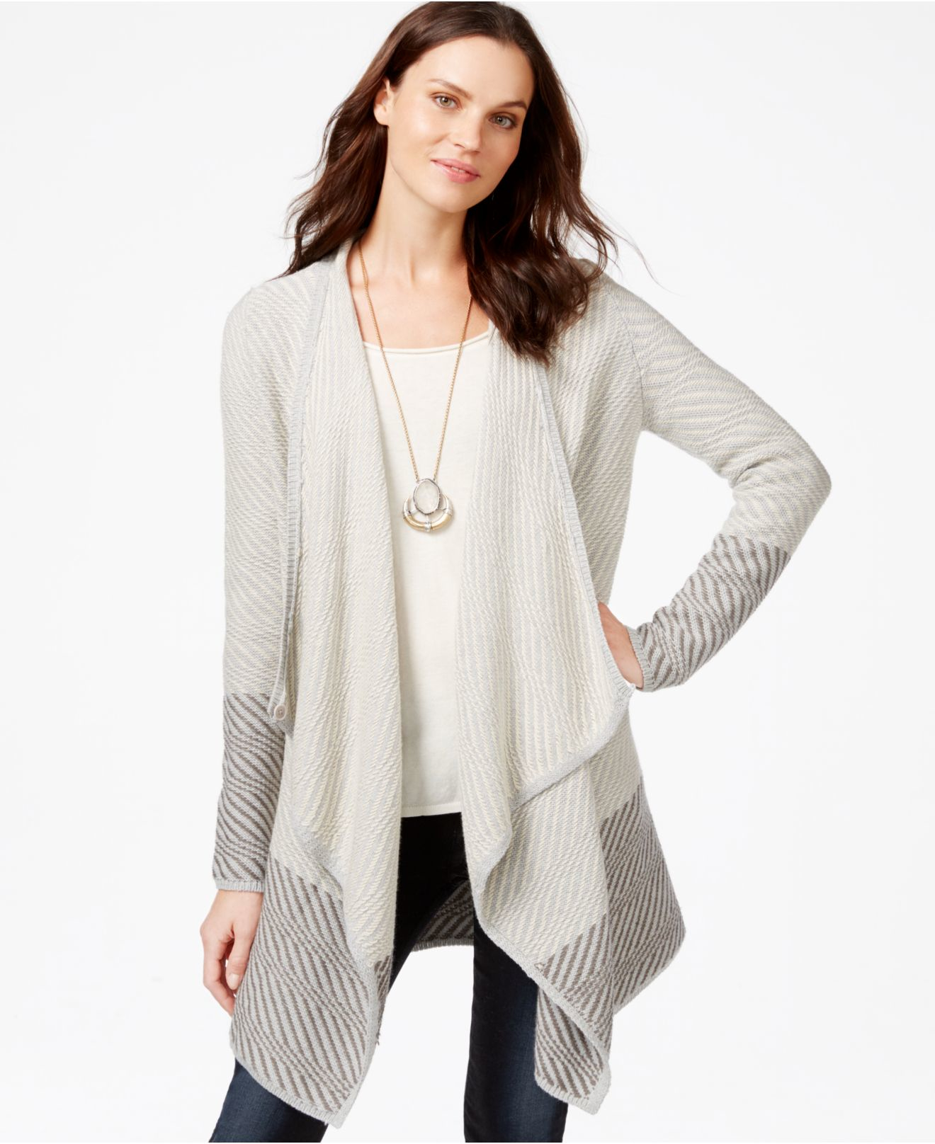Lucky brand Lucky Brand Printed Waterfall Cardigan in Gray | Lyst