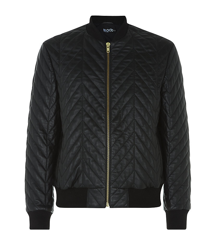 Blood Brother Quilted Herringbone Leather Alpha Bomber In