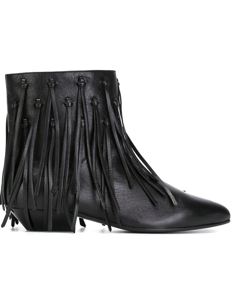 Saint laurent Fringed Ankle Boots in Black | Lyst