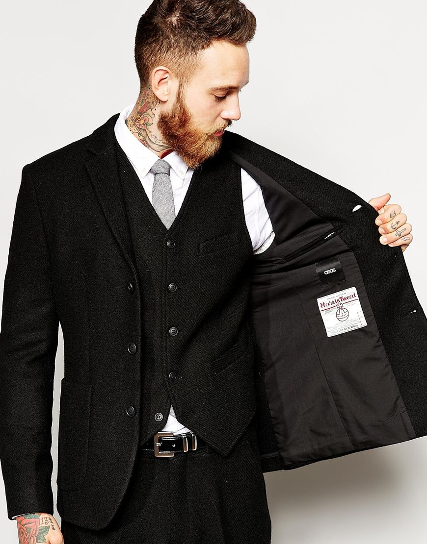 Asos Slim Fit Suit Jacket In Harris Tweed Fabric in Black for Men ...