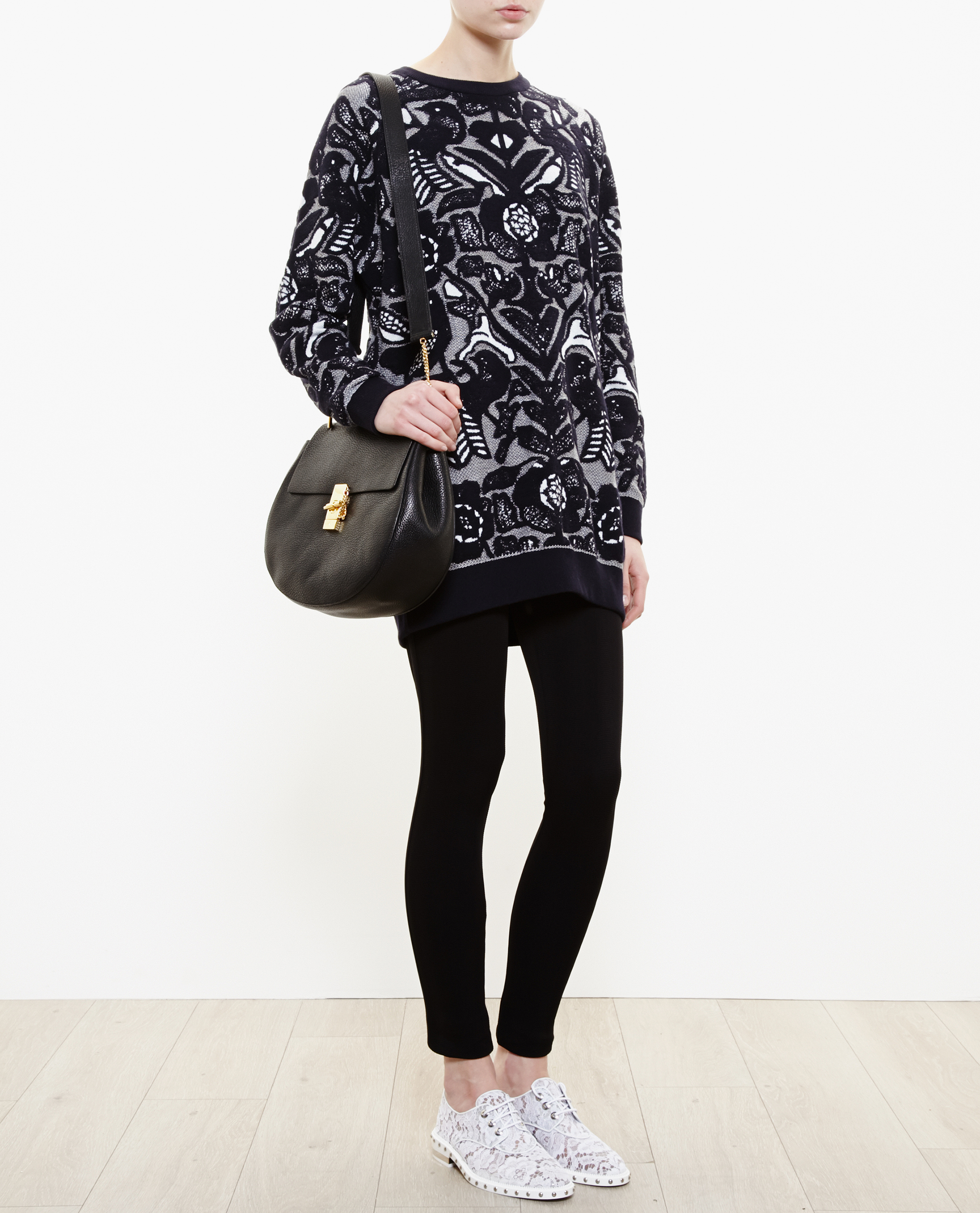 Chloé Flower Jacquard Sweater in Black