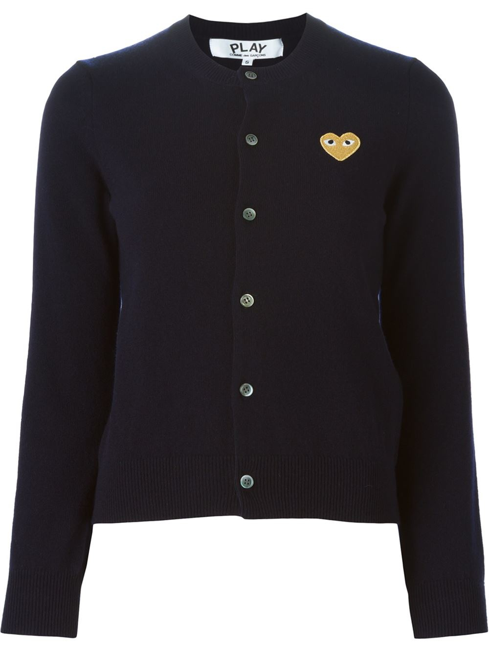 play comme des gar ons embroidered heart cardigan in blue lyst. Black Bedroom Furniture Sets. Home Design Ideas