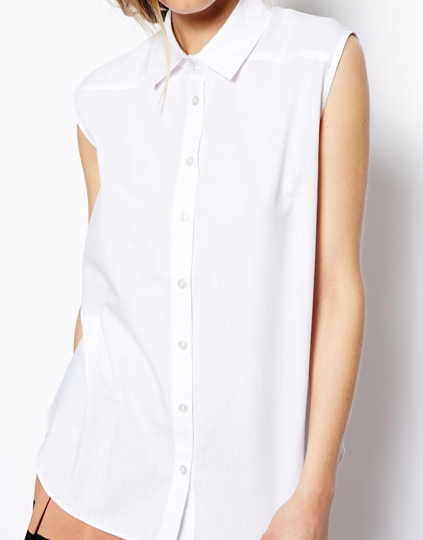 Asos Sleeveless Shirt in White | Lyst