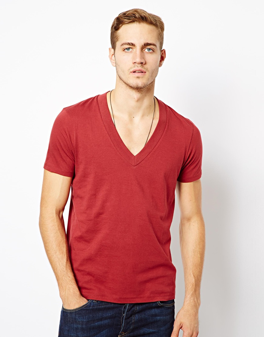 Asos Tshirt With Deep V Neck In Red For Men Lyst