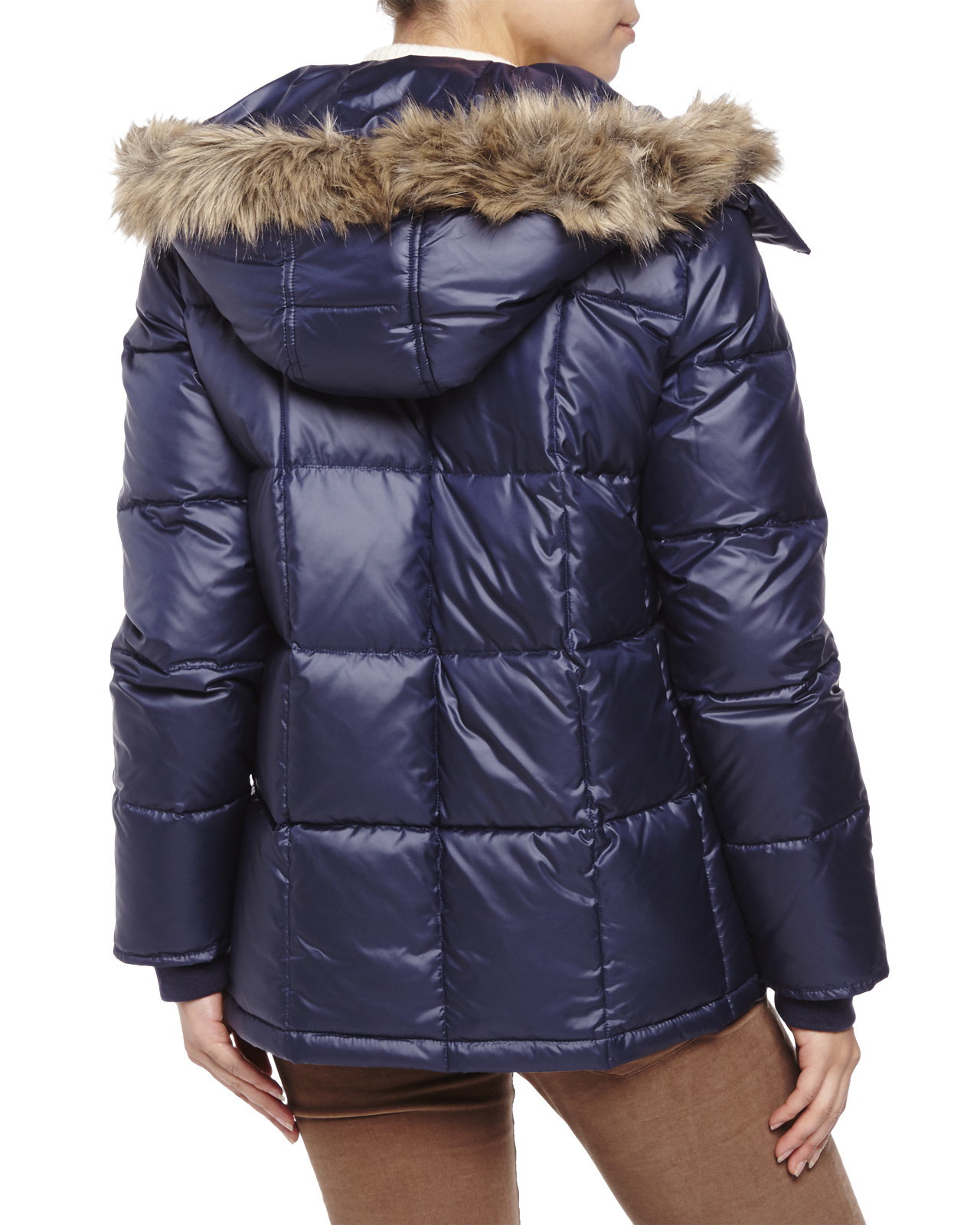d552167d620 Lyst - Kenneth Cole Quilted Faux Fur Trim Down Coat in Blue
