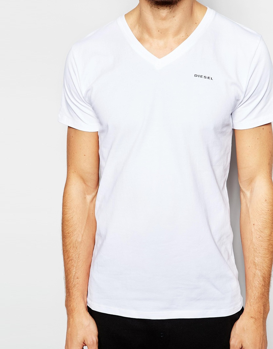 Sale Websites Best Two Pack T-Shirt With V Neck In Slim Fit - White Diesel Free Shipping Cheapest eIEG2fE