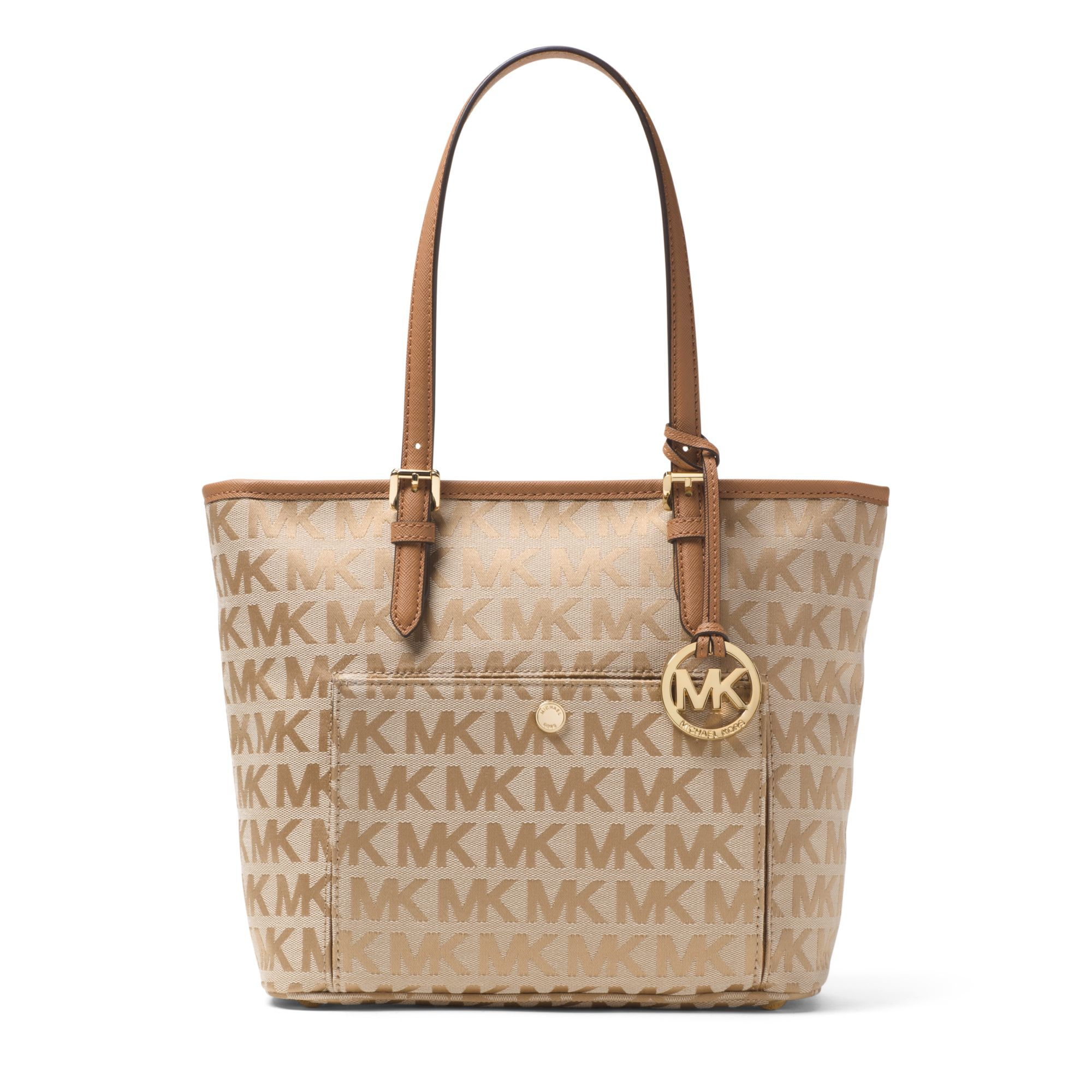 84d3108eb217c0 ... best lyst michael kors jet set travel medium tote in metallic a77f5  90711