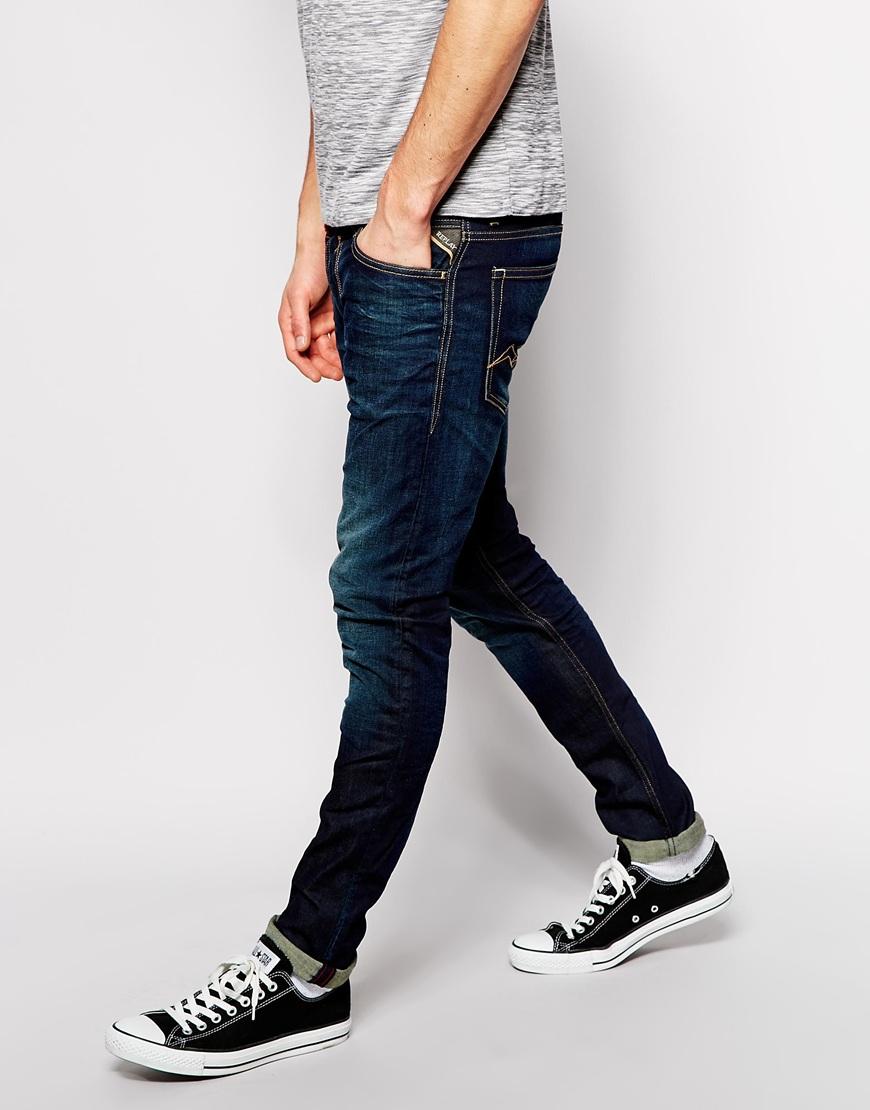 replay jeans jondrill skinny fit stretch dark resin wash. Black Bedroom Furniture Sets. Home Design Ideas