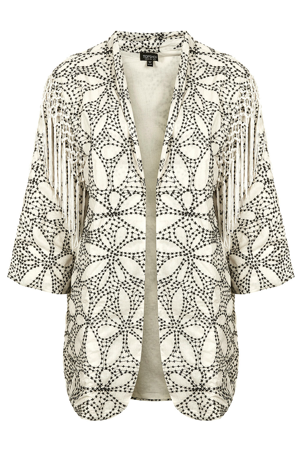 Topshop Fringed Embroidered Duster Jacket In Natural Lyst