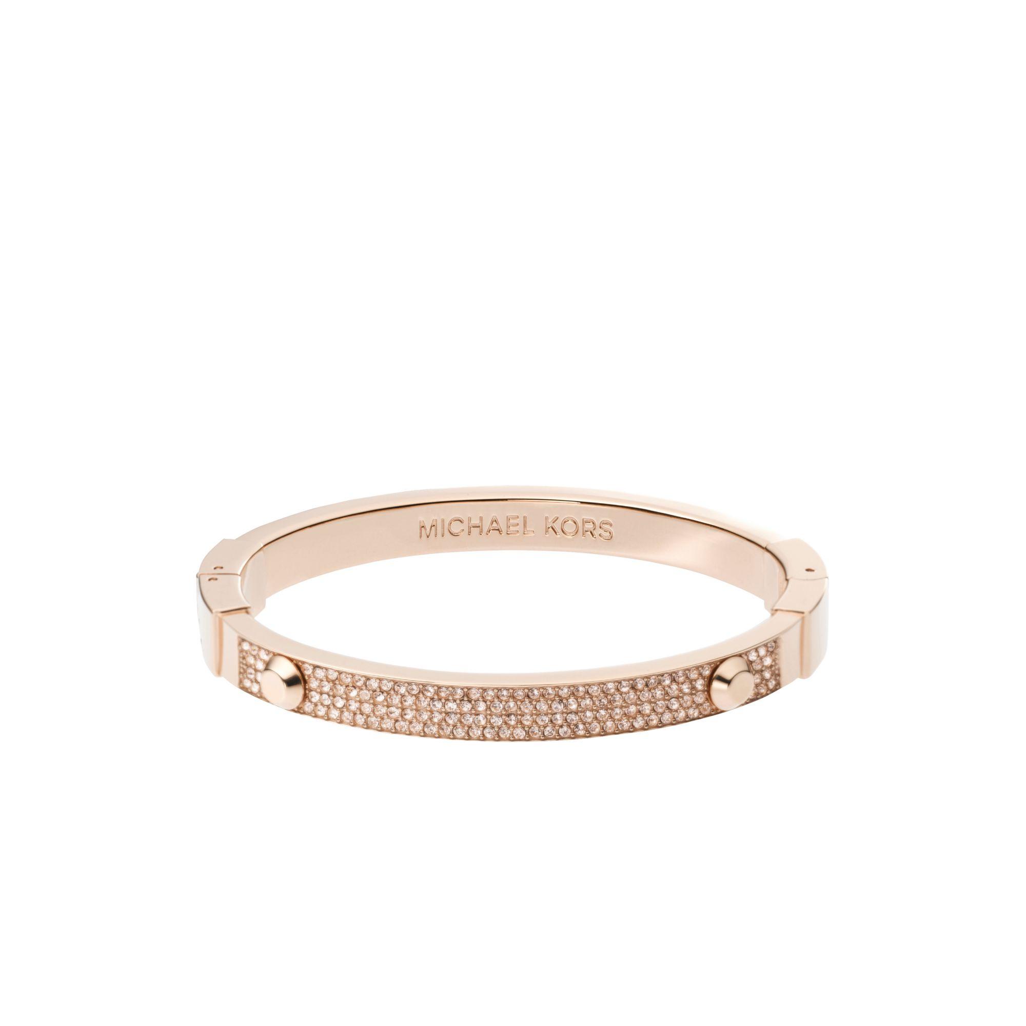 lyst michael kors astor pav rose gold tone bracelet in pink. Black Bedroom Furniture Sets. Home Design Ideas