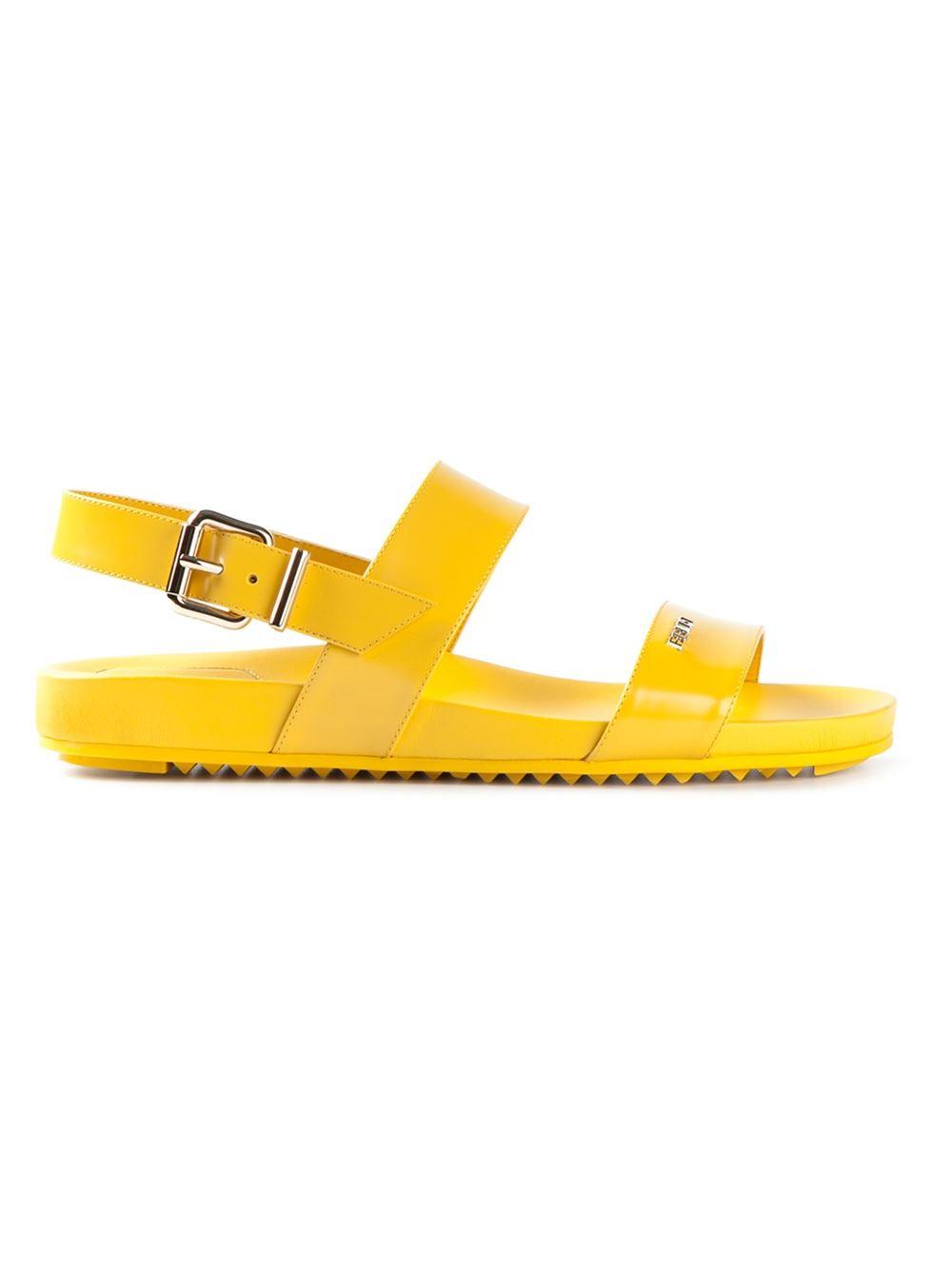 Lyst Fendi Strappy Flat Sandals In Yellow