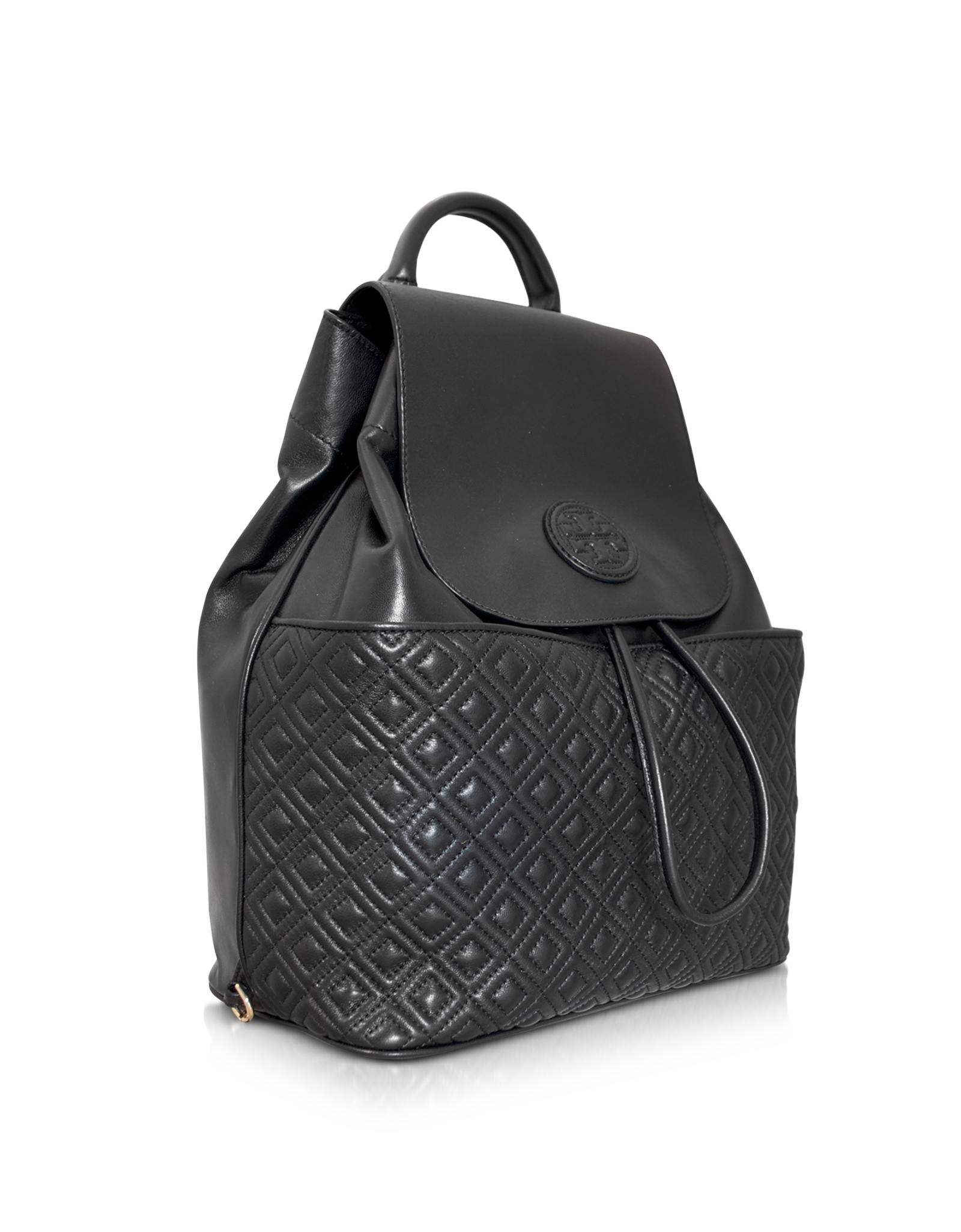 ce02d2771191 Lyst - Tory Burch Marion Quilted Smooth Leather Backpack in Black