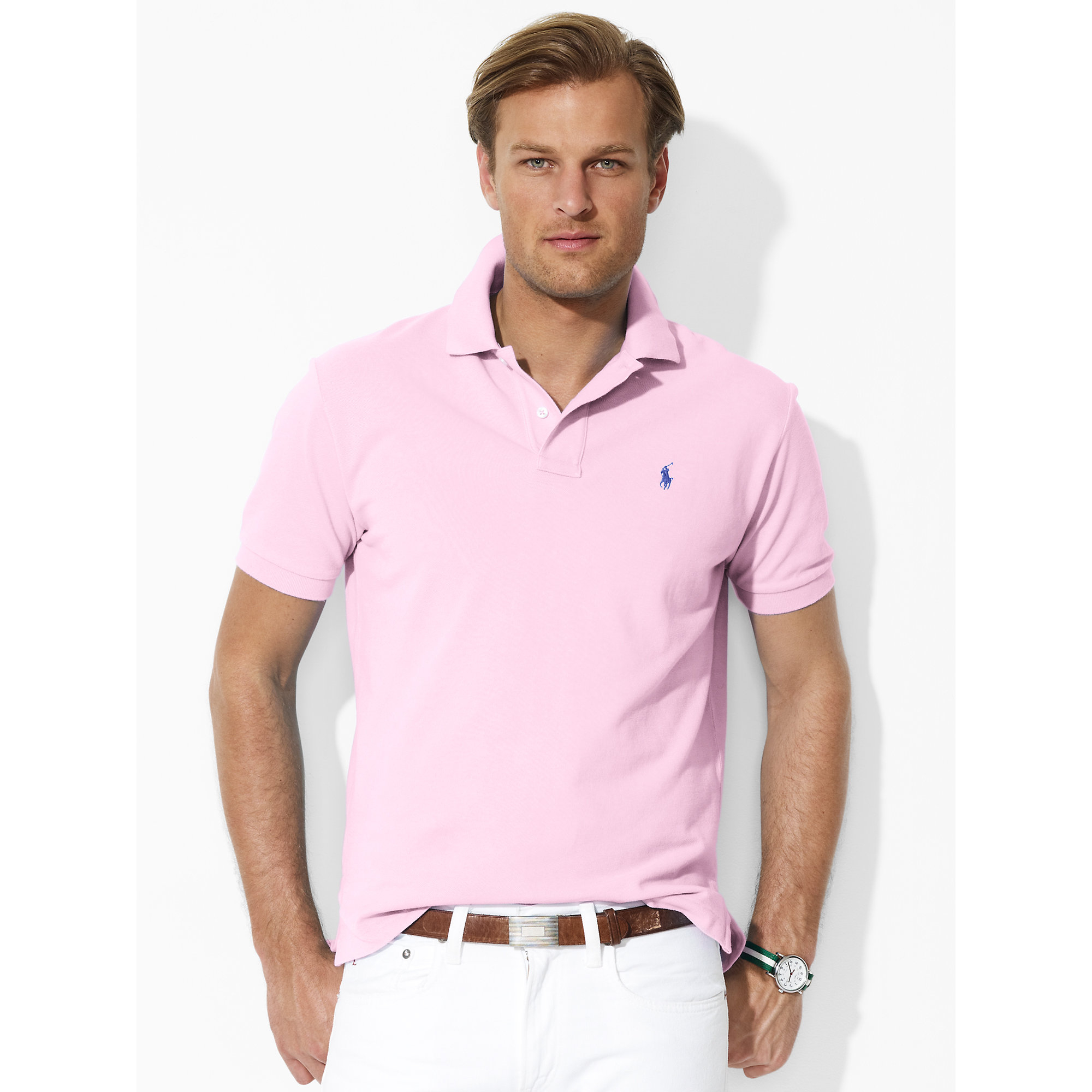 8ca46ec2 ... canada lyst polo ralph lauren classic fit mesh polo in pink for men  b8787 e4839