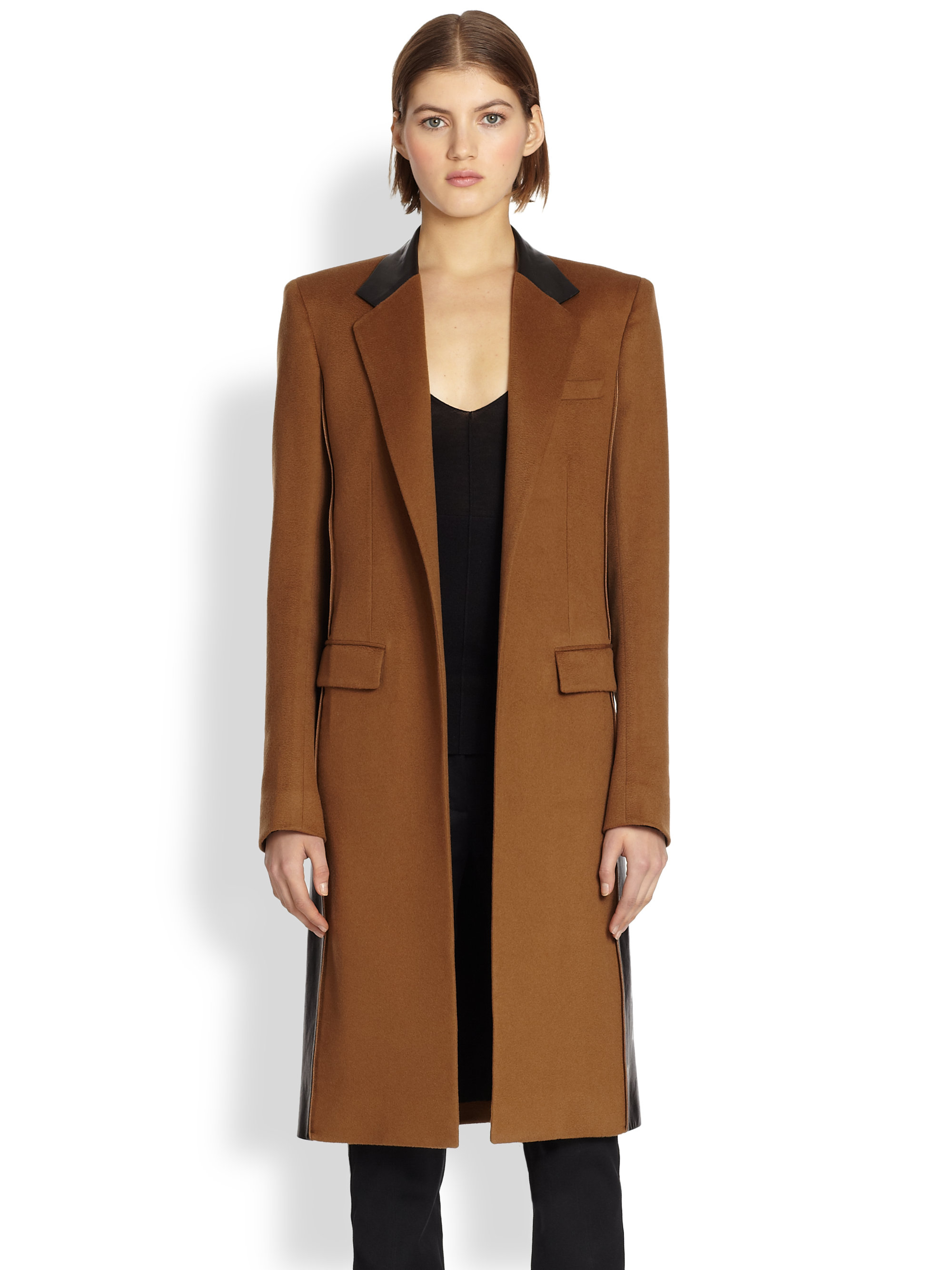Reed krakoff Leather-Trimmed Cashmere & Wool Coat in Brown | Lyst