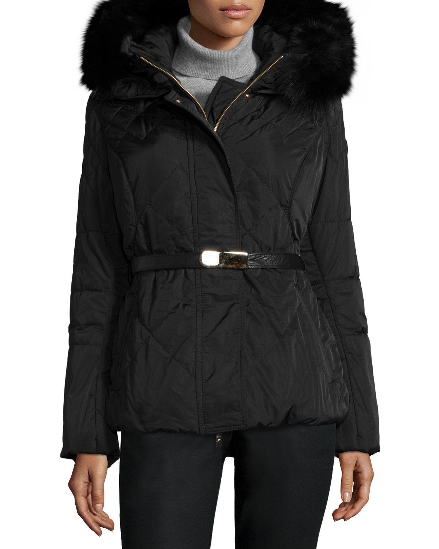 ... Lyst - Gorski Apres-ski Fur-hood Belted Puffer Jacket in Bla new style  ... d22ef5dc1