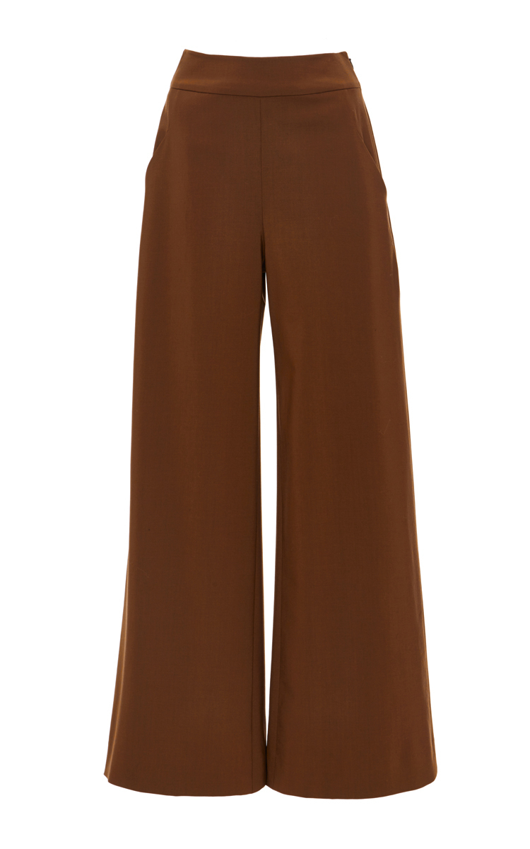 769e627205 Sally Lapointe Lightweight Wool Wide Leg Trouser in Brown - Lyst