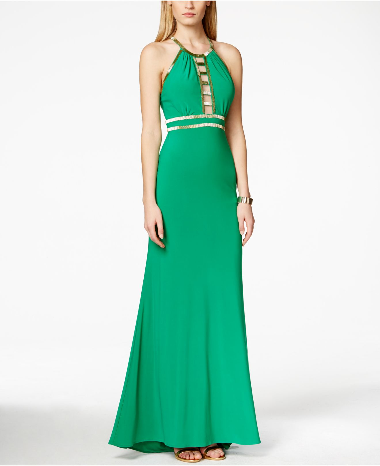 Xscape Embellished Cutout Gown in Green | Lyst