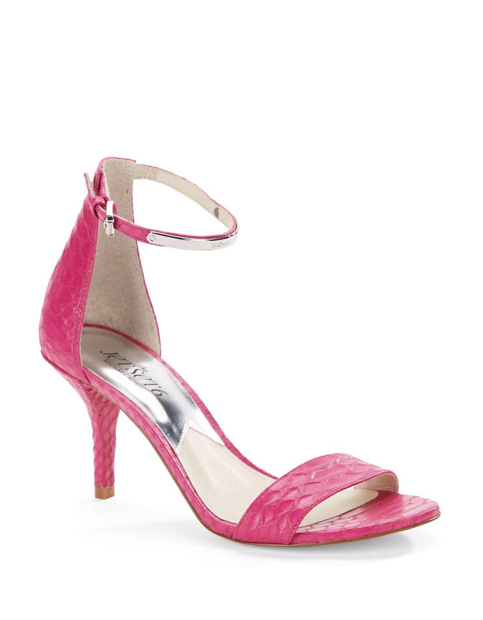michael michael kors kristen embossed sandals in pink lyst