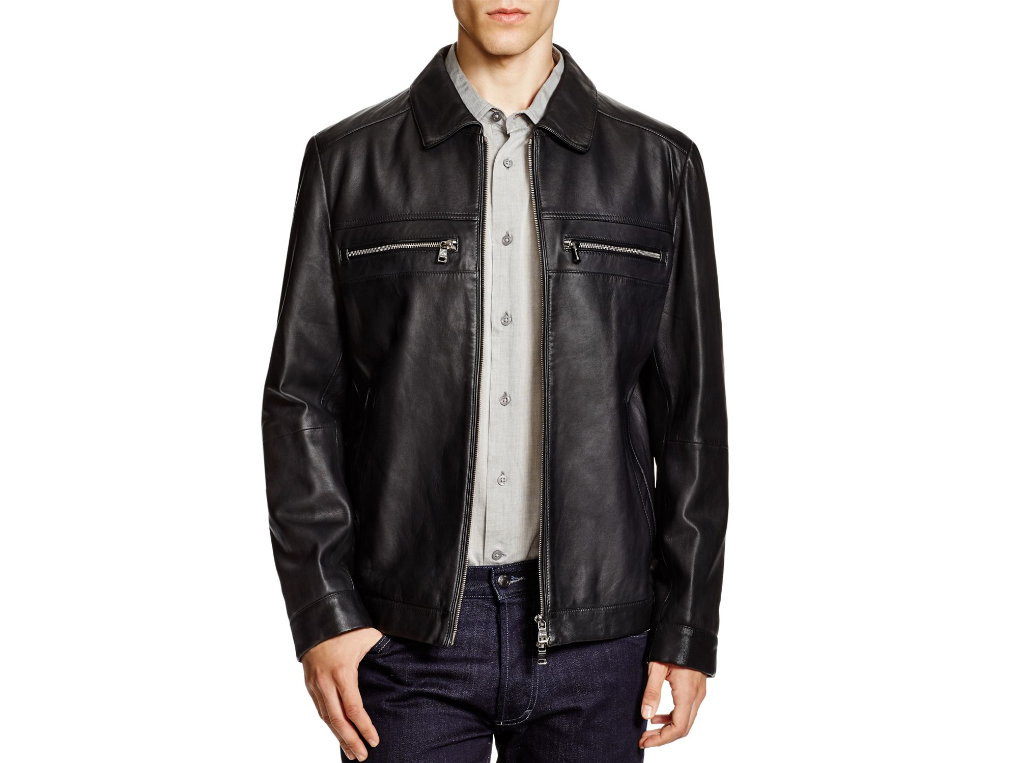 hugo boss brown leather jacket sale
