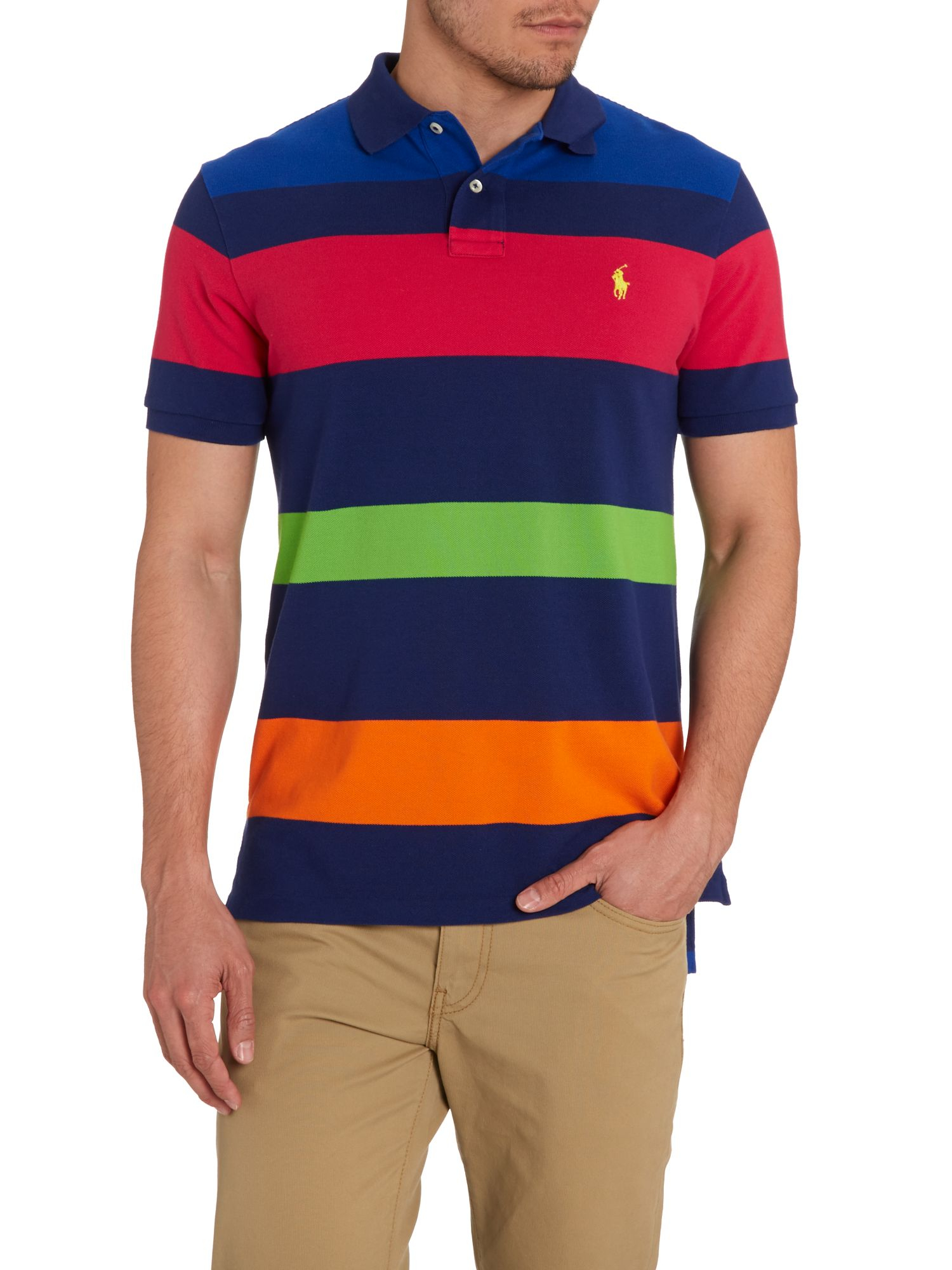 Polo ralph lauren multi stripe custom fit polo shirt in for Polo ralph lauren custom fit polo shirt