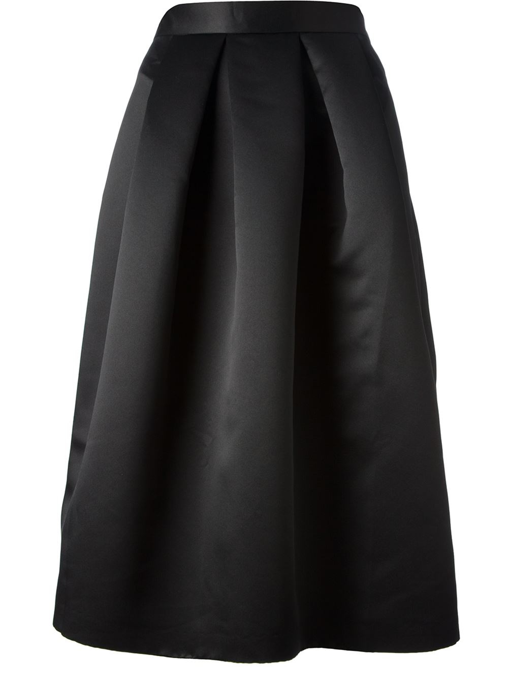 lulu co satin box pleated skirt in black lyst